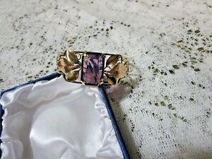 Vintage Krementz Cuff Bracelet Intense Purple Stone Cut-Out Scroll Tad of Patina
