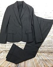 Theory Womens Charcoal Gray Wide Leg Cuffed Lighweight Wool Pant Suit Size 4 6