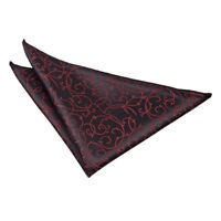 DQT Woven Swirl Patterned Black Burgundy Formal Handkerchief Hanky Pocket Square