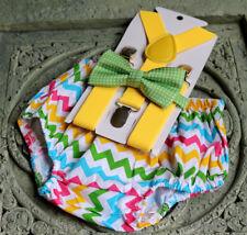 1st Birthday boy cake smash bow tie suspenders outfit Multicolor chevron green,