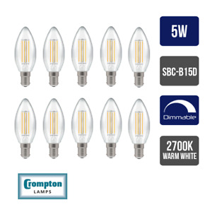 Pack of 10 x Crompton LED Dimmable Filament Candle Light Bulb Clear 5W B15 SBC 2