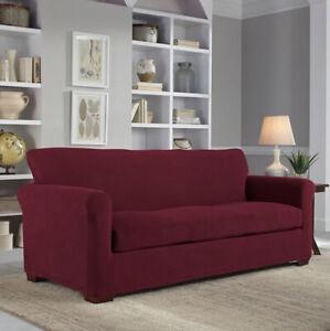 Perfect Fit NeverWet Luxury 3-Piece Sofa Slipcover in Garnet 96