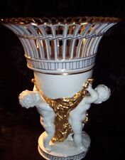 """ANTIQUE LARGE 12"""" CAPO DI MONTE WHITE AND GOLD CENTERPIECE WITH CHERUBS 1800s"""