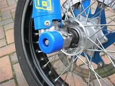 HUSABERG DRZ KTM CRASH MUSHROOM FRONT & REAR AXLE SLIDER BOBBINS BUNGS BLUE  S4K