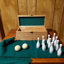 Miniature Bowling Set With Wooden Pins 2 Balls And Felt (Retro Game)