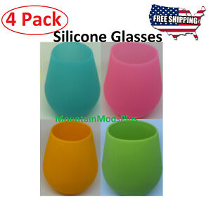 4 New Silicone Wine Glasses Anti-slip Unbreakable Rubber Outdoor Beer Mug Cup