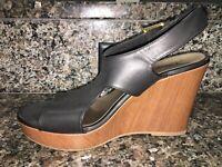 American Eagle Women's Wedge Sandals Size 11 Black Open Toe Strap