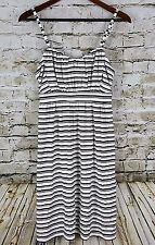 ELLE Womens Dress Size M Black White Striped Pleated Flounce Front  NWT $54