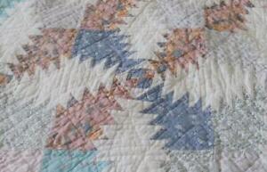 Vintage Patchwork Quilt Blue Aqua Cotton Hand Quilting Stitched Full