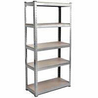 5 Tier Shelf Galvanised Warehouse DIY Garage Storage Rack Shelving Holder