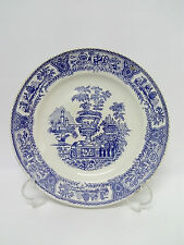 Antiguo Plato de porcelana inglesa con decoraciones en Azul