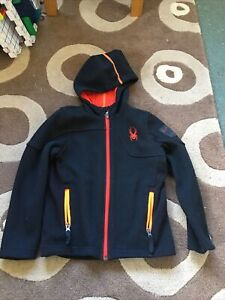 Boys Black Spyder Core Jacket Jumper Size XS Age 7 - 8 Years