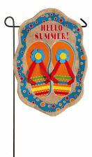"*New* Evergreen ""Hello Summer!"" Burlap Flip Flops Garden Flag"