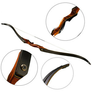 "35-60lbs 58"" Archery Laminated Takedown Recurve Bow Wood Riser Longbow Hunting"