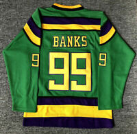 99# Adam Banks The Mighty Ducks Movie Ice Hockey Jersey Green White Stitched