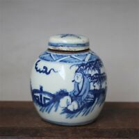 """Old Chinese Blue and white Porcelain qing Dynasty painted character Jar pot 3.3"""""""