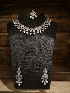 UK Bollywood Indian Silver Pearl Necklace Set Earrings & Tikka Weddings Parties