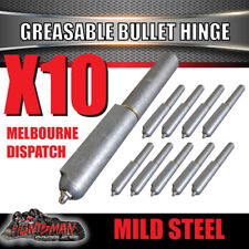x10 Steel Greasable Bullet Hinges, Brass Pin & Washer 100mm x 16mm Tailgate Door
