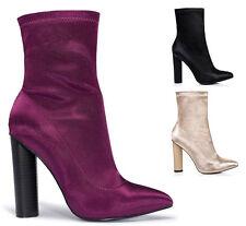 Ladies Satin Lycra Block High Heels Ankle Boots Sock Fit Celebrity Celeb Size