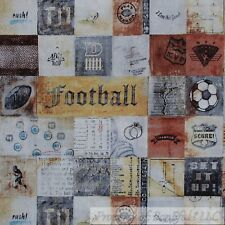 BonEful Fabric FQ Cotton Quilt Brown Natural Block Boy US Sport Foot*ball Soccer