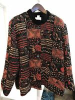Draper's & Damon's Rayon Blend Multi-Colored Floral Lined Thin Jacket Size - 3X