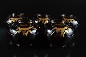 #4554:Japan Wooden Lacquer ware Flower gold lacquer pattern LID BOWL Bundle sale