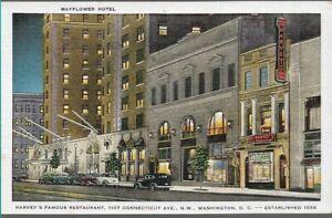 SUPERB POSTCARD - HARVEYS FAMOUS RESTAURANT & MAYFLOWER HOTEL - WASHINGTON 1952