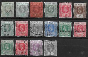 Fiji 1918 EVII / GV selection used / mounted mint
