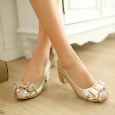 4 Color Women Mid Block Heel Sweet Round Toe Bling Bowknot Party Shoes Plus Size