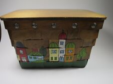 Vtg Gary Gail Dallas Wood Purse Woven Picnic Basket Old Stores Multi-color