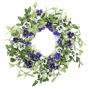 """18"""" Spring Floral Wreath for Front Door and Green Leaves Purple Pansy"""