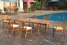 "7pc Grade-A Teak Dining Set 122"" Caranas Rectangle Table 6 Osborne Chair Outdoor"