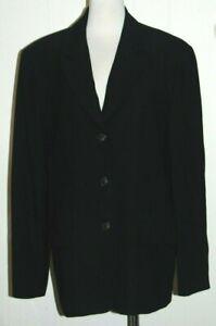 Talbots 100% Worsted Wool Black V Neck 3 Button Lined Pockets Blazer Jacket 14