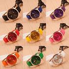 Fashion Women's Watch Geneva Roman Numerals Leather Analog Quartz Wrist Watch