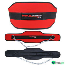 Dipping Belt body building weight Dip Lifting Chain Exercise Gym Training Red