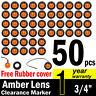 "50 x 3/4"" Inch Surface Mount Amber LED Side Trailer Truck Marker Light Indicator"