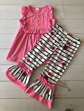 Girls Pink Ruffles & Roses Top + Double Ruffled Leggings Set, Adorable! NEW 3T
