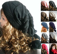 men women Baggy BEANIE Unisex oversize slouchy Knit Hat Skull Cap Circle Scarf