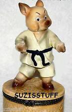 KARATE PIG-Porcelain Hinged-Box..IN FIGHTING MODE