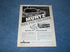 """1968 Muntz M-45 4-Track Car Stereo Unit Vintage Ad """"One For the Road"""""""