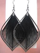T1142 Black Thread Earrings Leaf Hook Fashion Girl/Lady Dangle Jewelry