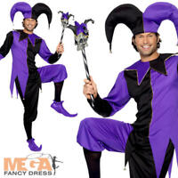 Medieval Jester Mens Fancy Dress Tudor Renaissance Court Clown Adults Costume