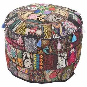 "22"" Ottomans Handmade Vintage patchwork Foot Stool Boho Khambhadia Pouf Cover"