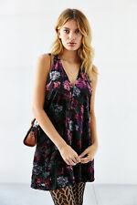 NWOT L bb Dakota velvet chiffon floral flower burnout dress mini black purple
