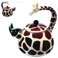 New Giraffe Animal Tea Kettle 2.3 Quart Whistling Enamel On Steel
