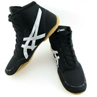Asics Matflex 5 Mens Size 8.5 US Black Silver Lace Up Wrestling Shoes J504N