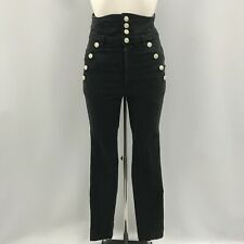 Isabel Marant Jeans Size 36 UK 8 Black Super High Waist Buttoned Cotton 283444