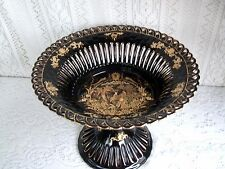 ***** CHINESE COMPOTE BLACK GILDED PIERCED PORCELAIN WITH PEACOCK DESIGN *****