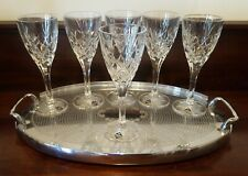 6 Bohemia Crystal Cortina Wine Glasses Criss Cross Fan Cut With Labels Czech