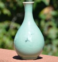Vintage Celadon Crane Cloud Vase Glazed Green Small Bud Vase Signed Art Pottery